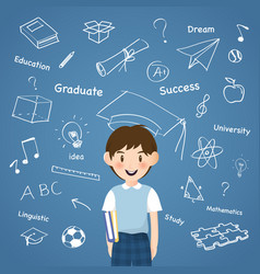 a boy with creative aducation icon infographic vector image vector image