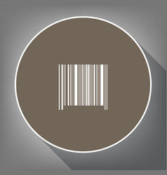 bar code sign white icon on brown circle vector image