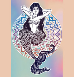 beautiful mermaid girl with fairytale hair art vector image vector image
