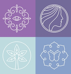 beauty and spa line logos vector image vector image