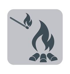 Campfire silhouette icin vector