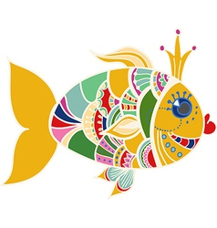 Cartoon color gold fish over white vector