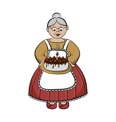 Character - Old lady carry birhday cake vector image