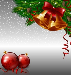 Christmas bells and red baubles vector image