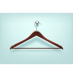 Clothes coat wooden hanger close up isolated vector