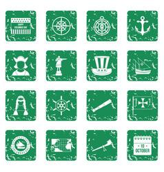 Columbus day icons set grunge vector