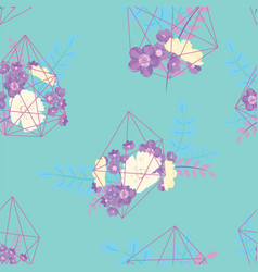 creative card with geometric contour crystal vector image