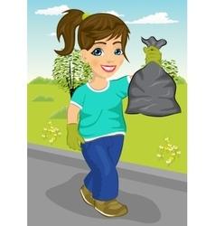 Cute teenager girl holding garbage bag vector