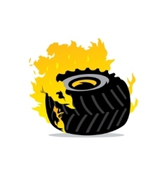 Flaming wheel cartoon vector