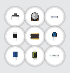 Flat icon device set of microprocessor memory vector