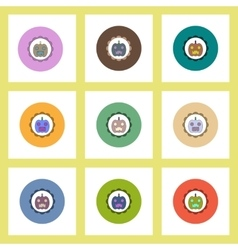 Flat icons halloween set of coaster with pumpkin vector