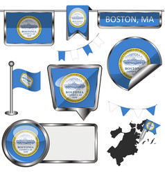 Glossy icons with flag of boston vector
