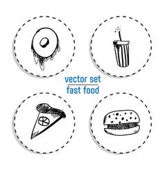 Hand drawn bakery sticker set blackboard icon vector