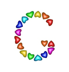 Letter G made of multicolored hearts vector image