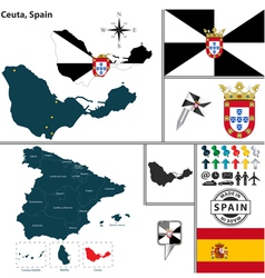 Map of Ceuta vector image vector image