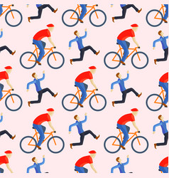 Racing cyclist in action seamless pattern vector