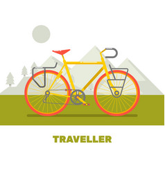 Retro bicycle travel flat art vector