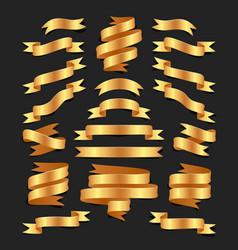 set of hand drawn gold satin ribbons on blacke vector image vector image