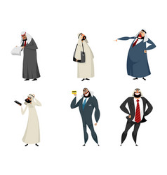 six arab businessmen vector image