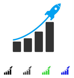 Startup sales chart flat icon vector