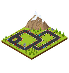 track racing isometric view vector image