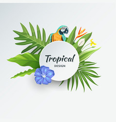 Tropical green leaf with parrot and flower vector
