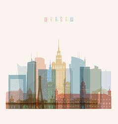 warsaw skyline detailed silhouette vector image