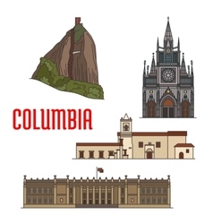 Architecture tourist attractions of colombia vector