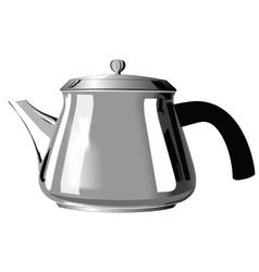Metal teapot with black handle vector