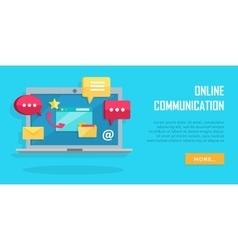 Online communication conceptual banner laptop vector
