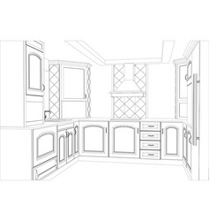 kitchen sketch interior vector image