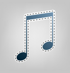 music sign   blue icon with vector image