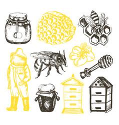 Bee garden - of vintag vector