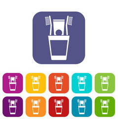 plastic cup with brushes icons set vector image