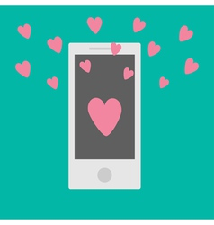 Phone with hearts flat design style vector