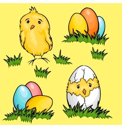 Easter cartoon chicks and eggs in green fresh vector
