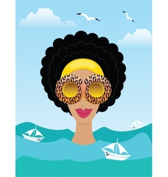 Woman on the sea or ocean vector