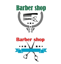 Two barber shop emblems or signs vector