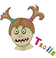 Scary girl troll vector