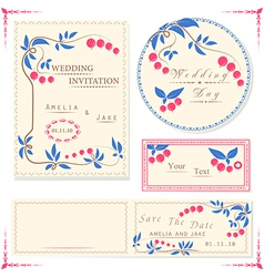 Wedding invitation cards and tag wedding set vector