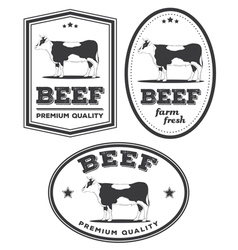 Beef vintage labels vector
