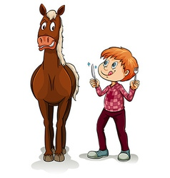 Young boy and a horse vector