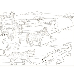 Coloring book educational game african savannah vector