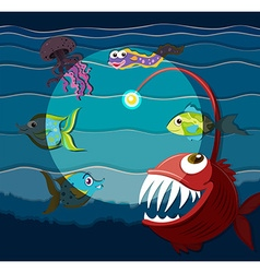 Ocean scene with sea monsters vector