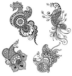 peacocks style mehndi vector image