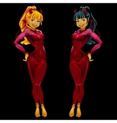 Two girls devils in red latex on black background vector