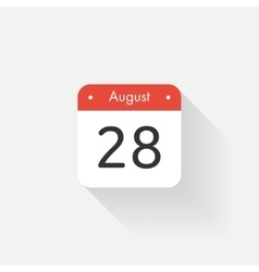 Calendar icon with long shadow flat style date vector