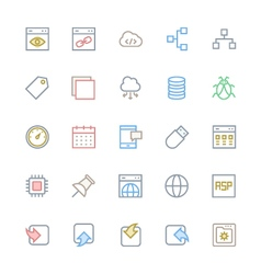 User interface colored line icons 32 vector