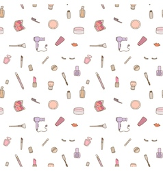 Seamless pattern of make up set vector
