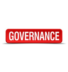 Governance red 3d square button on white vector